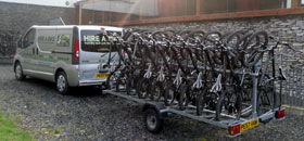 group cycle hire delivery van and trailer